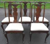 Set of Five Queen Anne Style Mahogany Dining Chairs